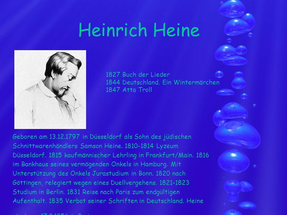 Heinrich Heine 1827 Buch der Lieder