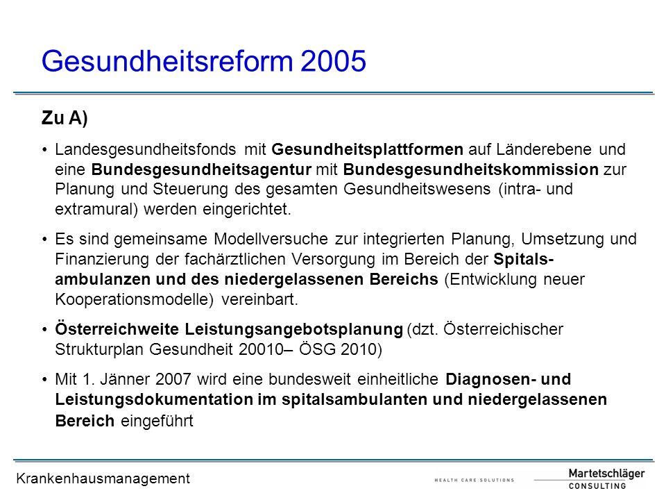 Gesundheitsreform 2005 Zu A)
