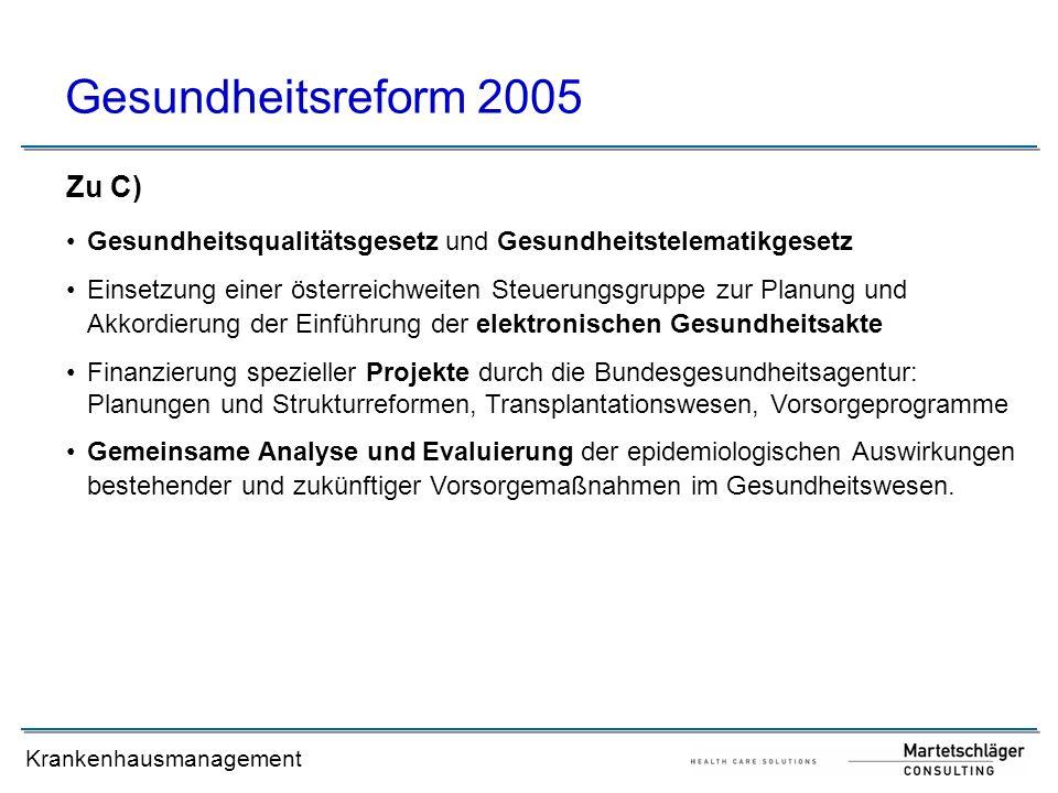 Gesundheitsreform 2005 Zu C)