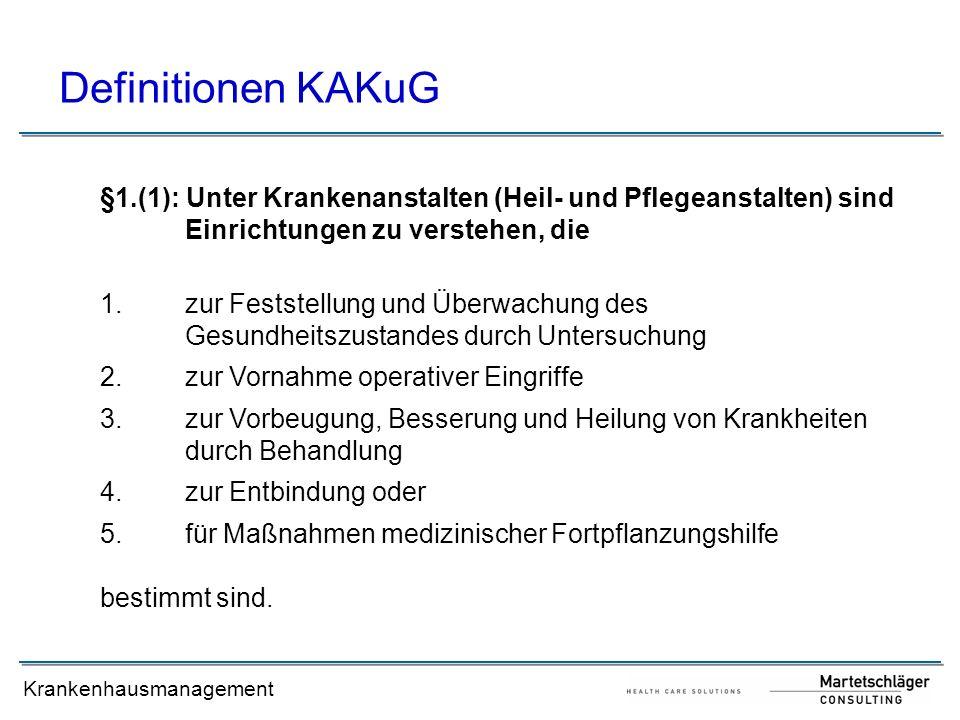 Definitionen KAKuG §1.(1): Unter Krankenanstalten (Heil- und Pflegeanstalten) sind Einrichtungen zu verstehen, die.