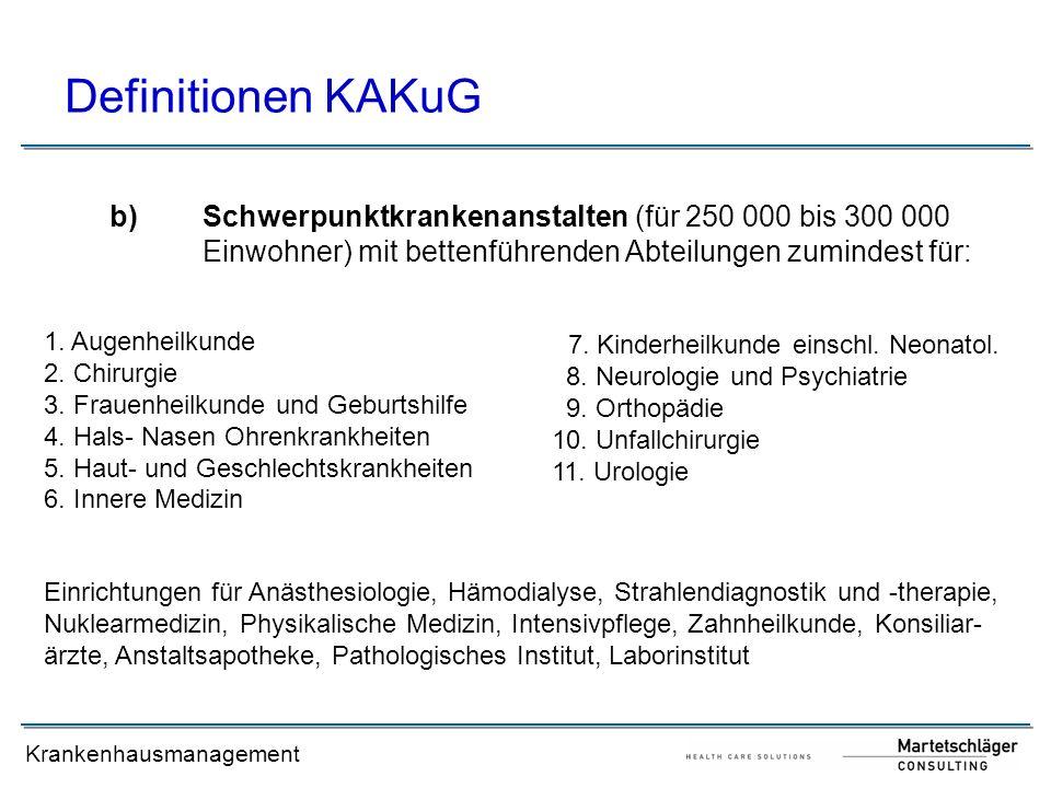 Definitionen KAKuGSchwerpunktkrankenanstalten (für 250 000 bis 300 000 Einwohner) mit bettenführenden Abteilungen zumindest für:
