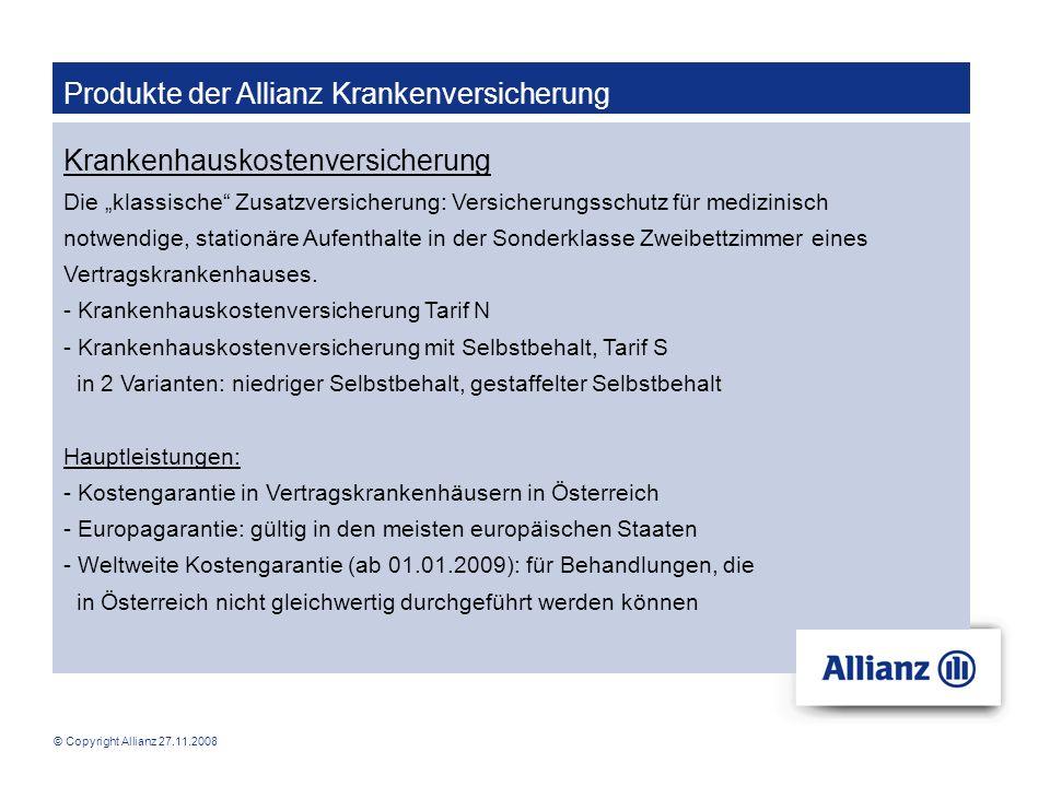 Produkte der Allianz Krankenversicherung