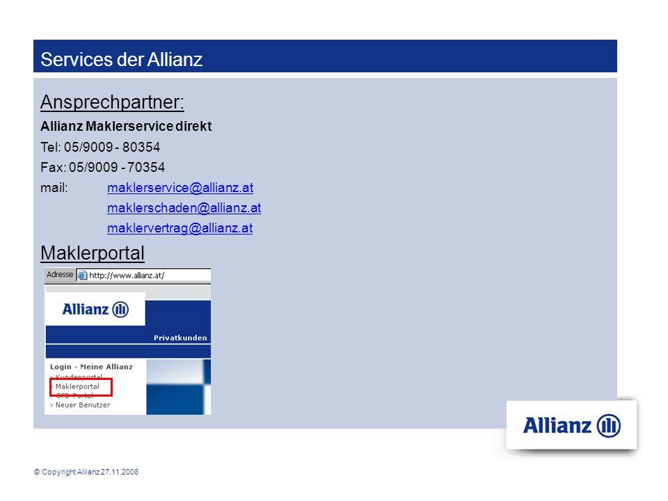 Services der Allianz Ansprechpartner: Maklerportal