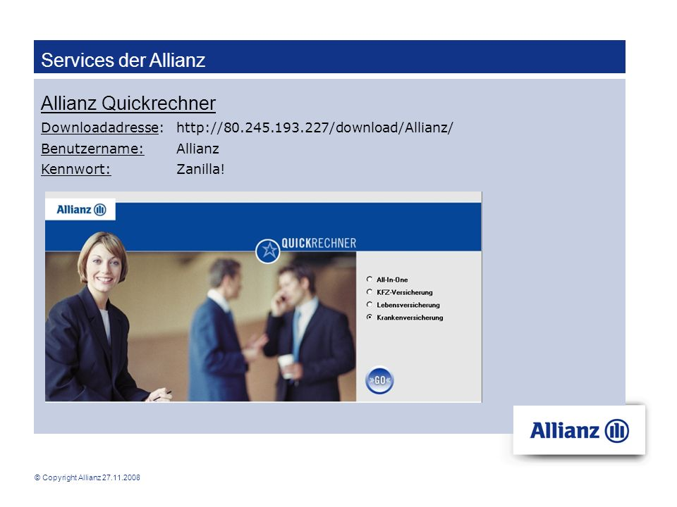 Services der Allianz Allianz Quickrechner