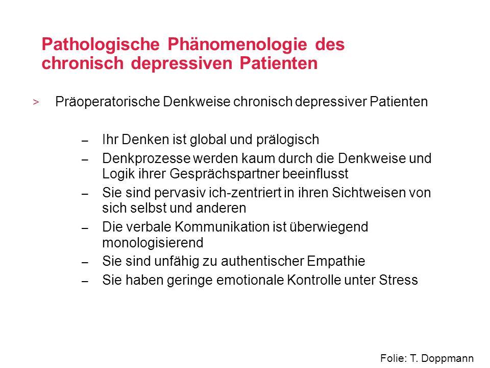 Pathologische Phänomenologie des chronisch depressiven Patienten