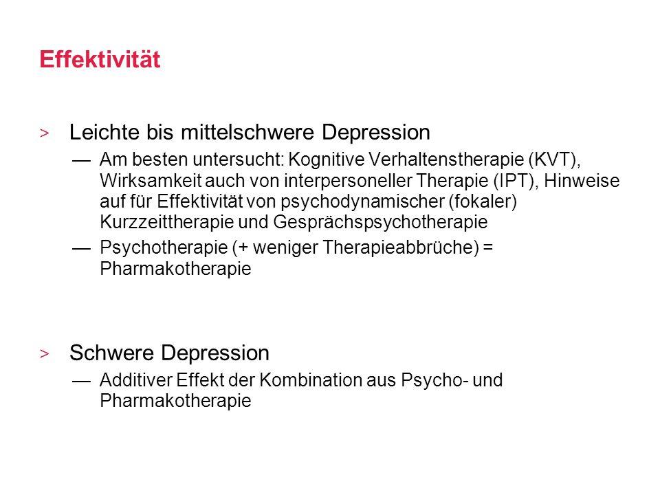 Effektivität Leichte bis mittelschwere Depression Schwere Depression