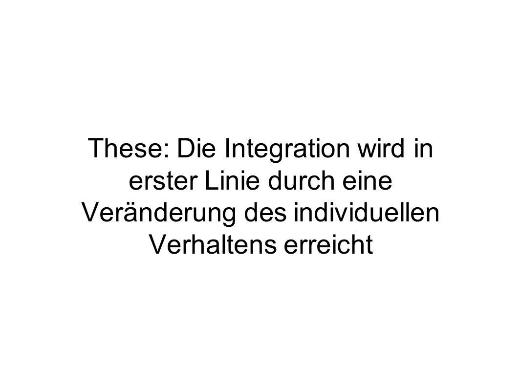These: Die Integration wird in erster Linie durch eine Veränderung des individuellen Verhaltens erreicht