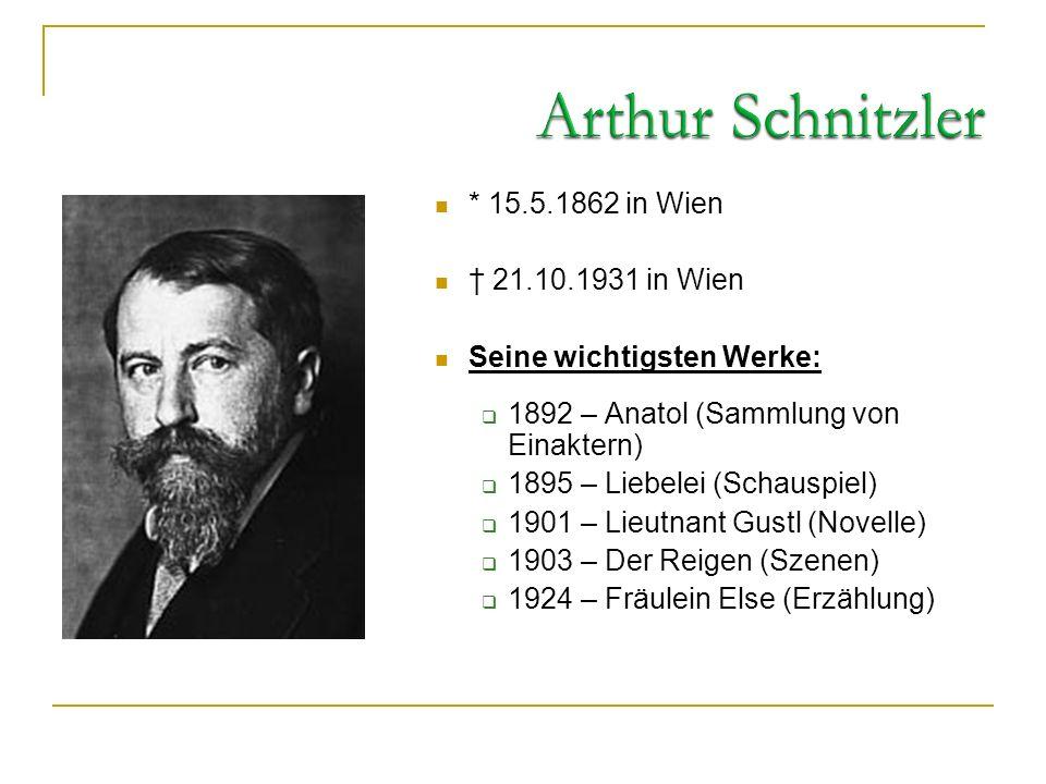 Arthur Schnitzler * 15.5.1862 in Wien † 21.10.1931 in Wien