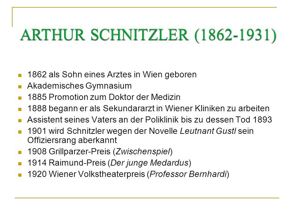 ARTHUR SCHNITZLER (1862-1931) 1862 als Sohn eines Arztes in Wien geboren. Akademisches Gymnasium. 1885 Promotion zum Doktor der Medizin.