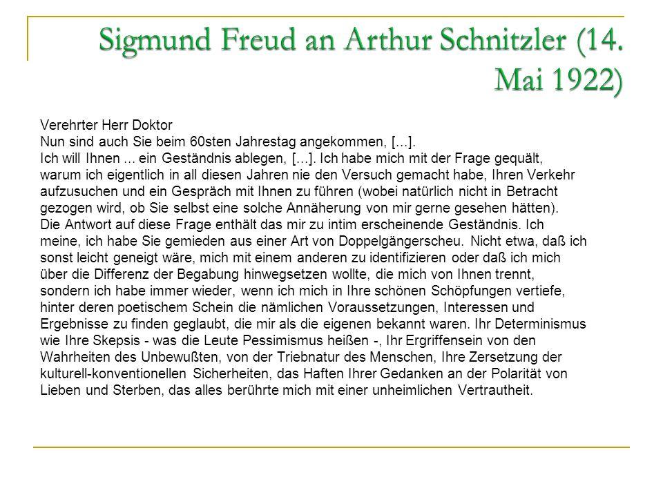 Sigmund Freud an Arthur Schnitzler (14. Mai 1922)