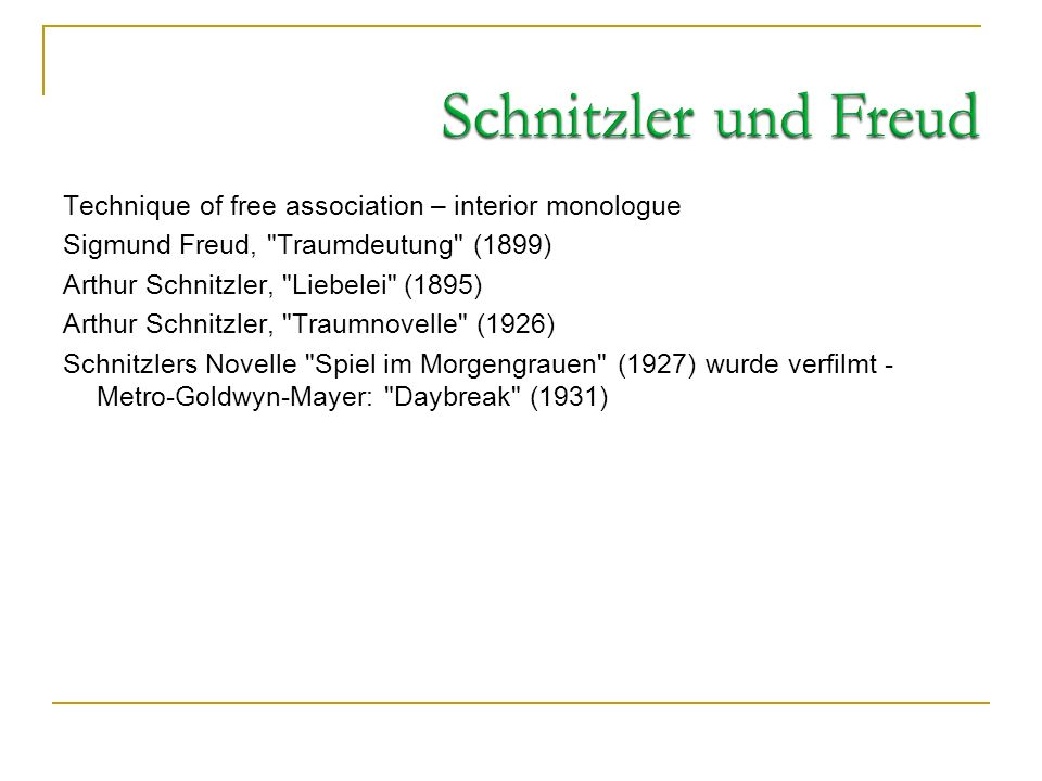 Schnitzler und Freud Technique of free association – interior monologue. Sigmund Freud, Traumdeutung (1899)