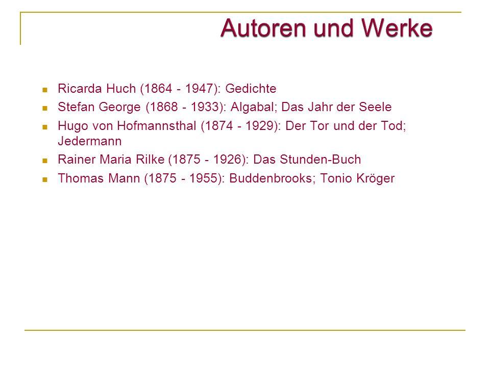 Autoren und Werke Ricarda Huch (1864 - 1947): Gedichte