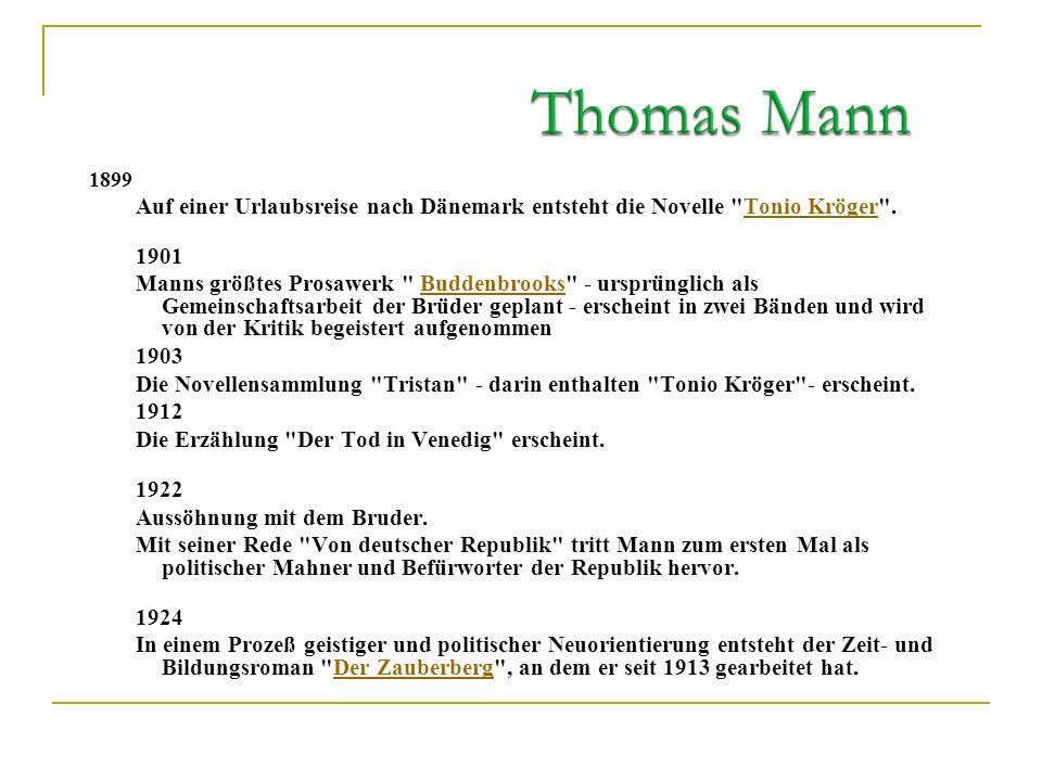 Thomas Mann 1899. Auf einer Urlaubsreise nach Dänemark entsteht die Novelle Tonio Kröger . 1901.