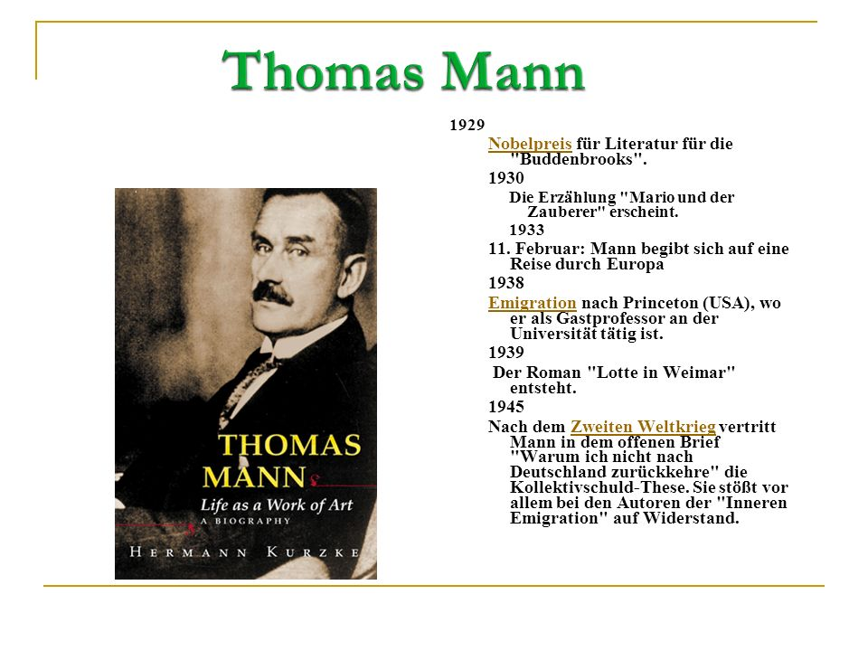 Thomas Mann Nobelpreis für Literatur für die Buddenbrooks . 1930