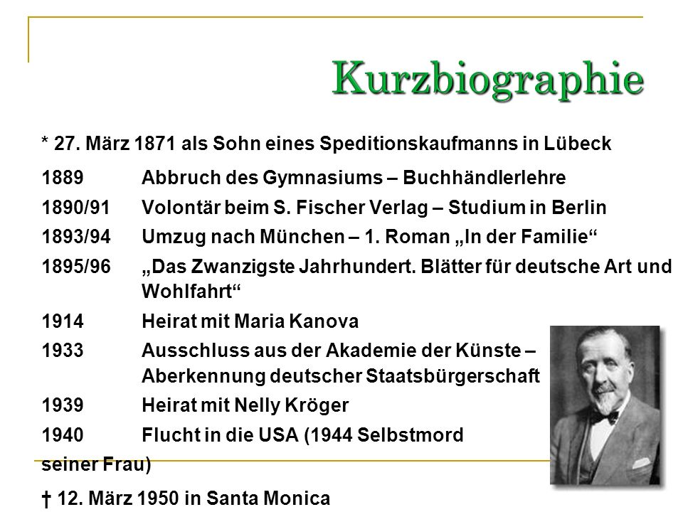 Kurzbiographie* 27. März 1871 als Sohn eines Speditionskaufmanns in Lübeck. 1889 Abbruch des Gymnasiums – Buchhändlerlehre.