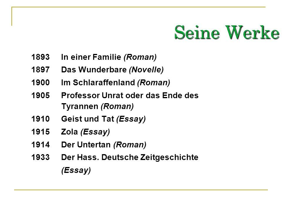 Seine Werke 1893 In einer Familie (Roman)