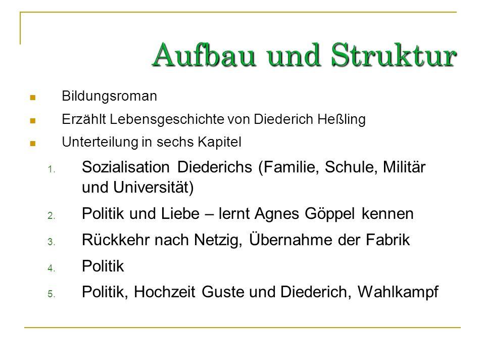 Aufbau und StrukturBildungsroman. Erzählt Lebensgeschichte von Diederich Heßling. Unterteilung in sechs Kapitel.