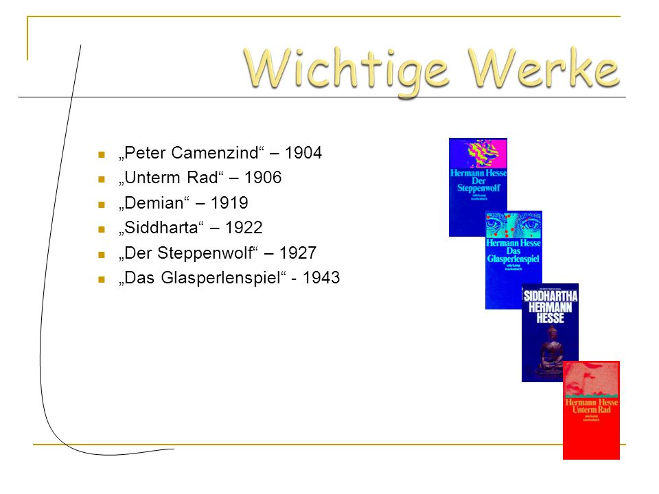 """Wichtige Werke """"Peter Camenzind – 1904 """"Unterm Rad – 1906"""