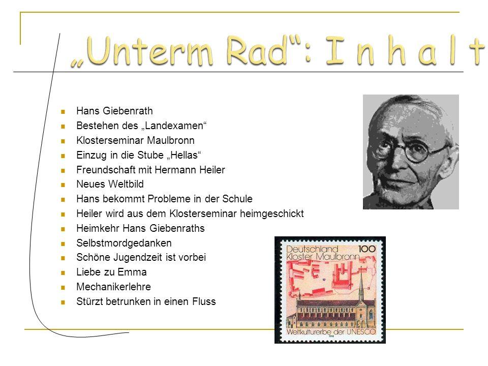 """""""Unterm Rad : I n h a l t Hans Giebenrath Bestehen des """"Landexamen"""