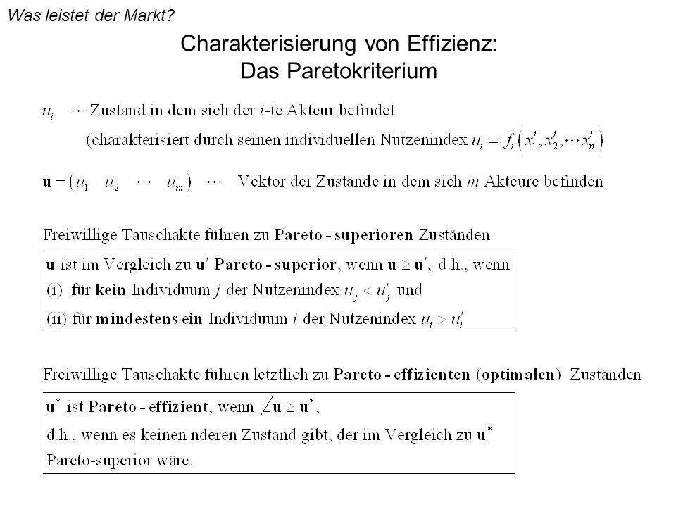 Charakterisierung von Effizienz: Das Paretokriterium