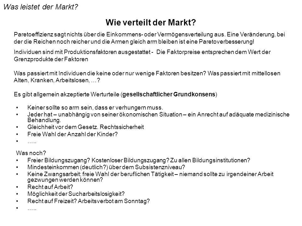 Wie verteilt der Markt Was leistet der Markt