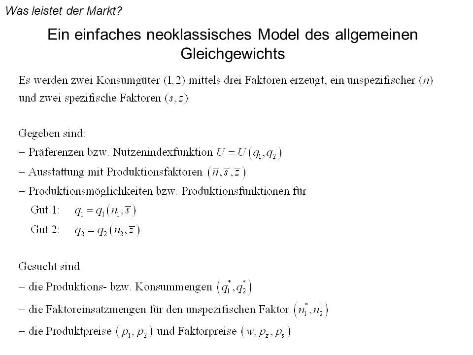 Ein einfaches neoklassisches Model des allgemeinen Gleichgewichts