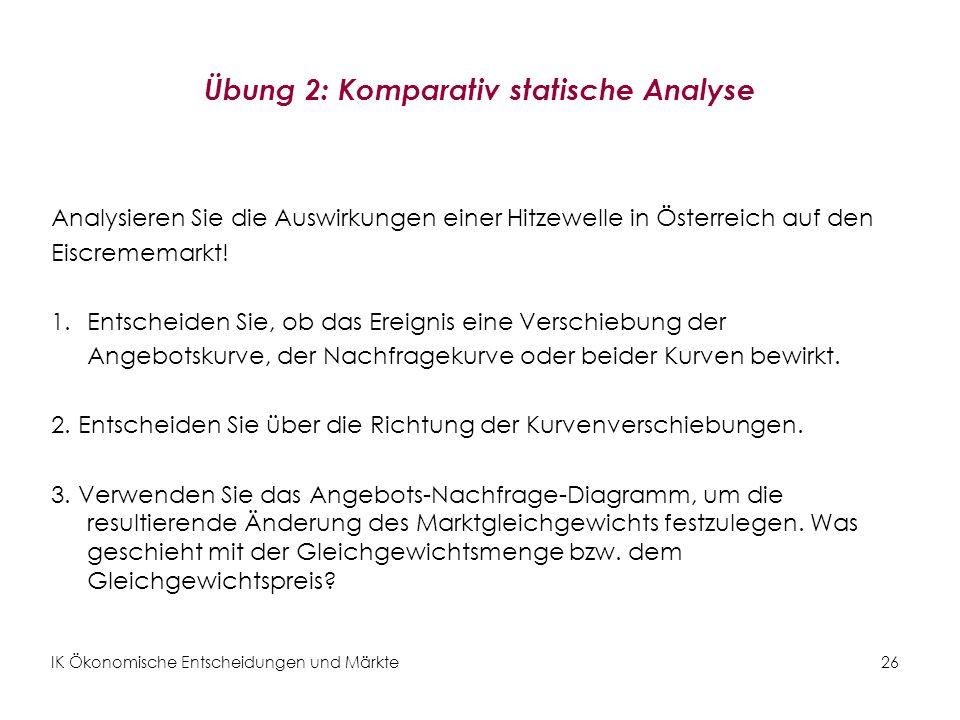 Übung 2: Komparativ statische Analyse