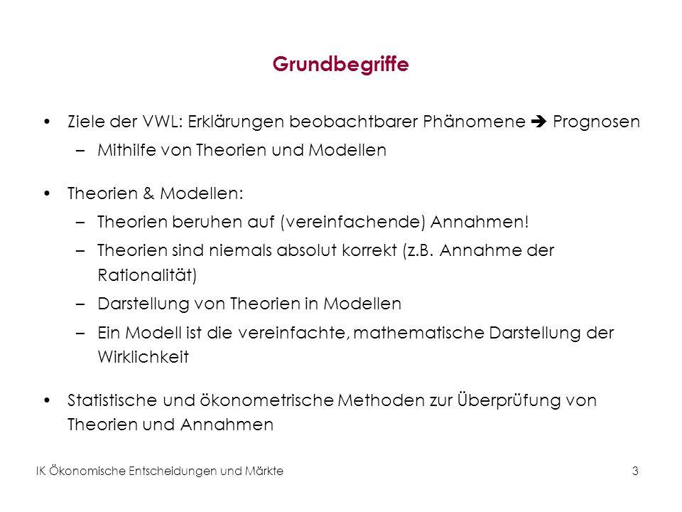Grundbegriffe Ziele der VWL: Erklärungen beobachtbarer Phänomene  Prognosen. Mithilfe von Theorien und Modellen.