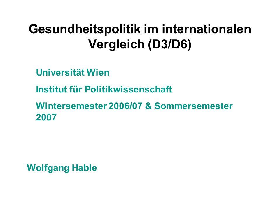 Gesundheitspolitik im internationalen Vergleich (D3/D6)