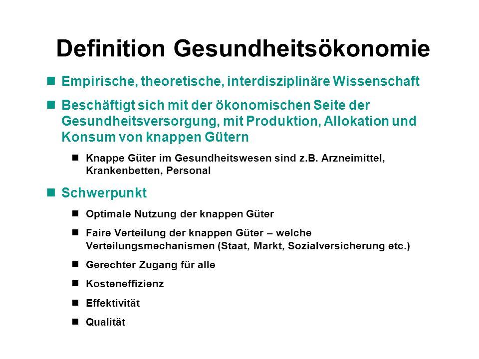 Definition Gesundheitsökonomie