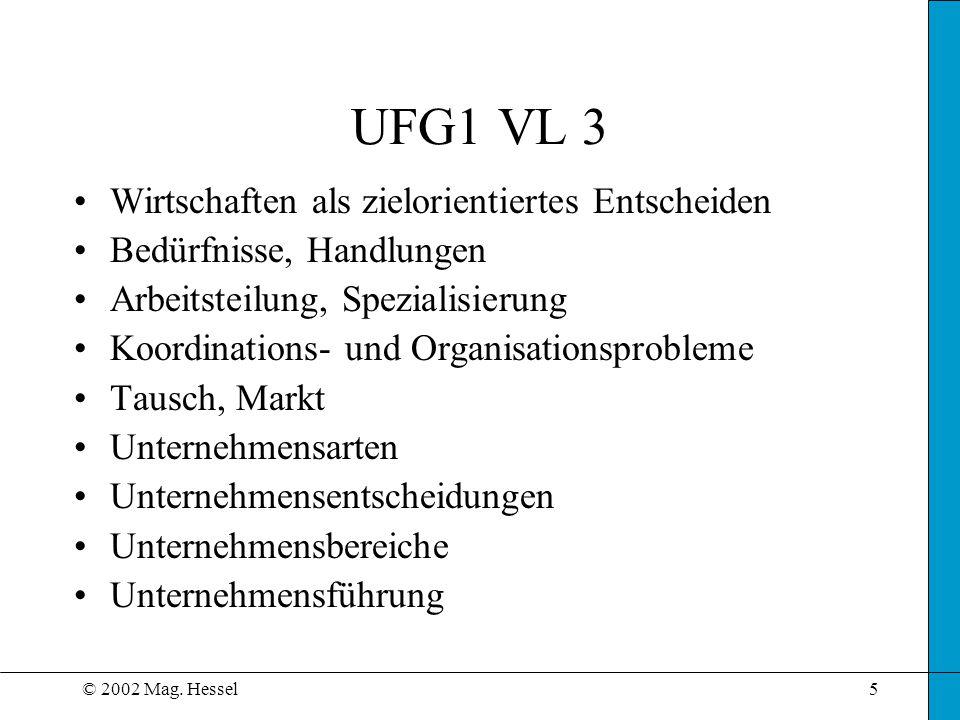 UFG1 VL 3 Wirtschaften als zielorientiertes Entscheiden