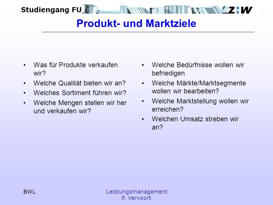 Produkt- und Marktziele