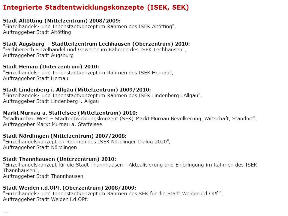 Integrierte Stadtentwicklungskonzepte (ISEK, SEK)