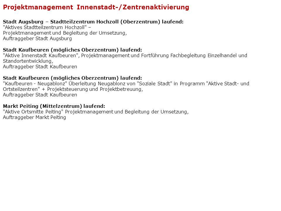 Projektmanagement Innenstadt-/Zentrenaktivierung