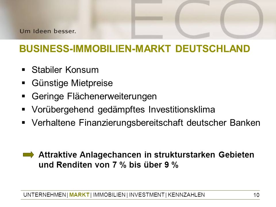 BUSINESS-IMMOBILIEN-MARKT DEUTSCHLAND