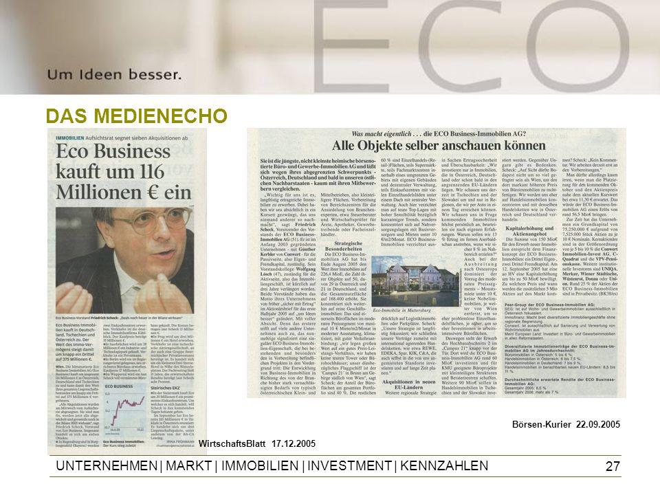 DAS MEDIENECHO Börsen-Kurier 22.09.2005. WirtschaftsBlatt 17.12.2005.