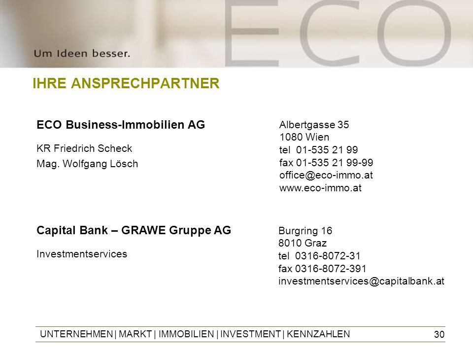 IHRE ANSPRECHPARTNER ECO Business-Immobilien AG