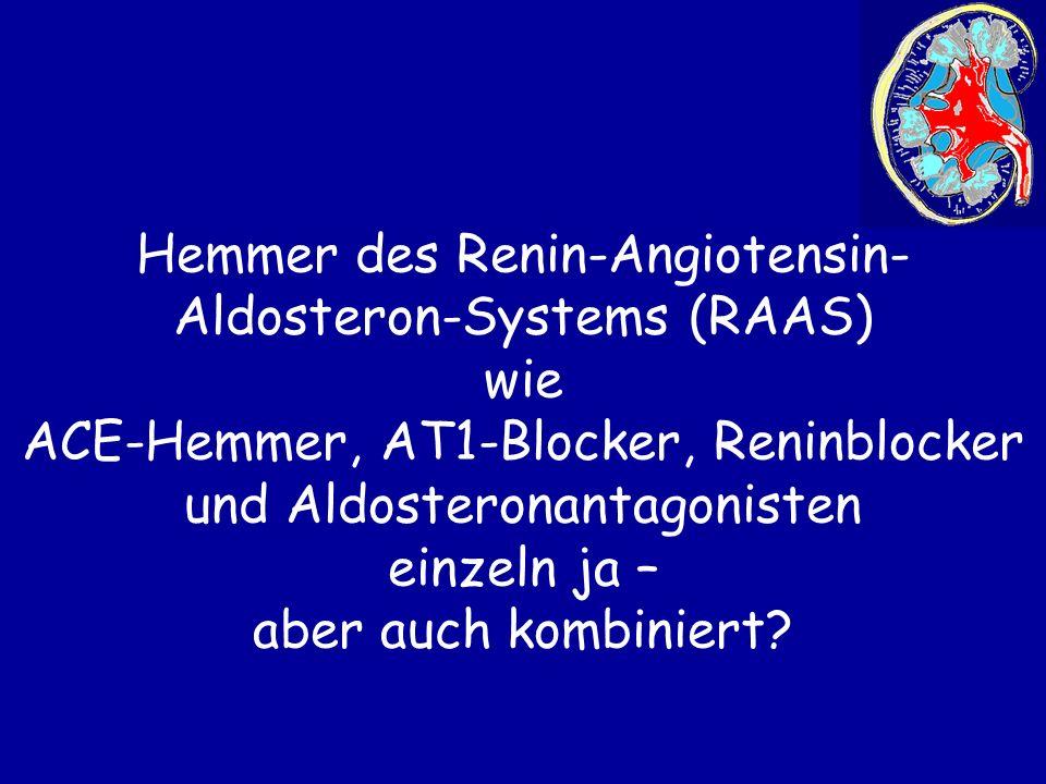 Hemmer des Renin-Angiotensin-Aldosteron-Systems (RAAS) wie ACE-Hemmer, AT1-Blocker, Reninblocker und Aldosteronantagonisten einzeln ja – aber auch kombiniert