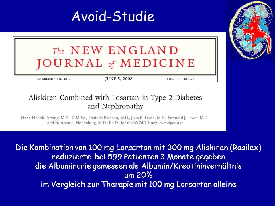 Avoid-Studie Die Kombination von 100 mg Lorsartan mit 300 mg Aliskiren (Rasilex) reduzierte bei 599 Patienten 3 Monate gegeben.