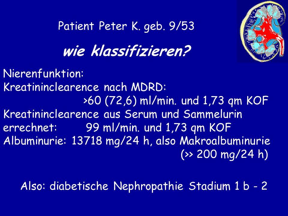 Also: diabetische Nephropathie Stadium 1 b - 2