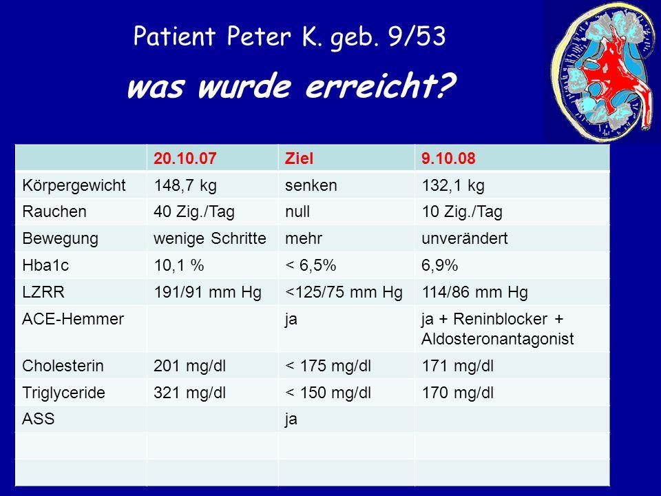 was wurde erreicht Patient Peter K. geb. 9/53 20.10.07 Ziel 9.10.08