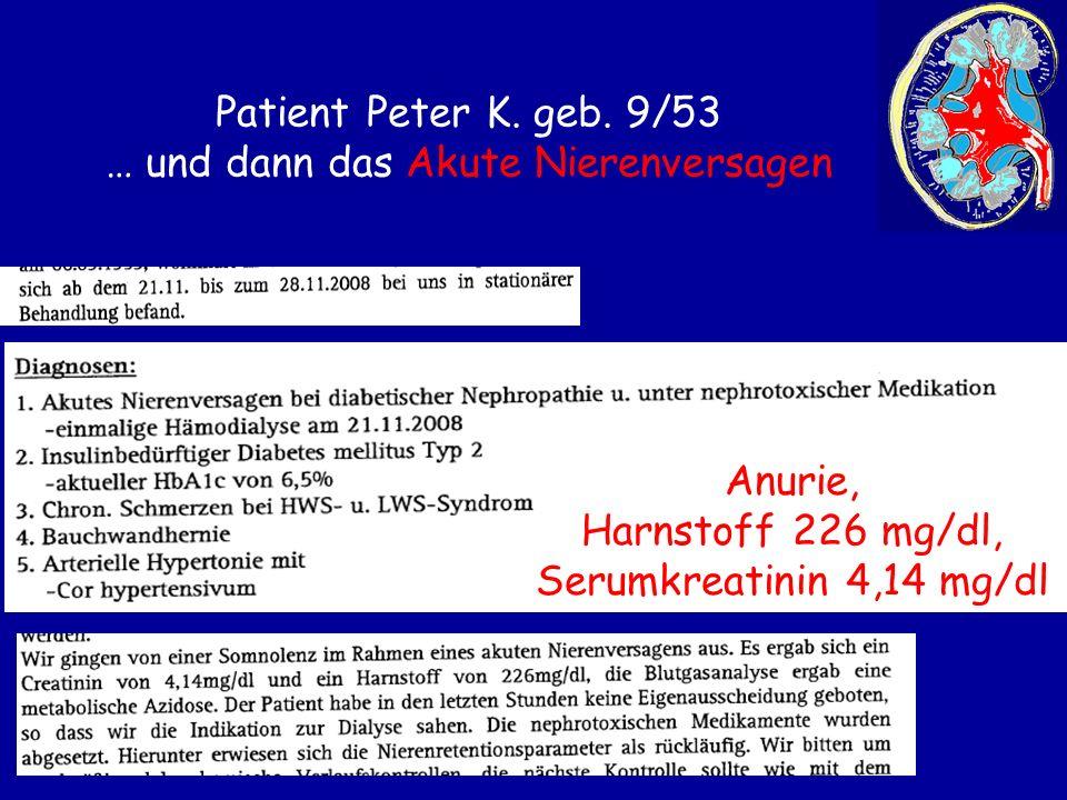Patient Peter K. geb. 9/53 … und dann das Akute Nierenversagen