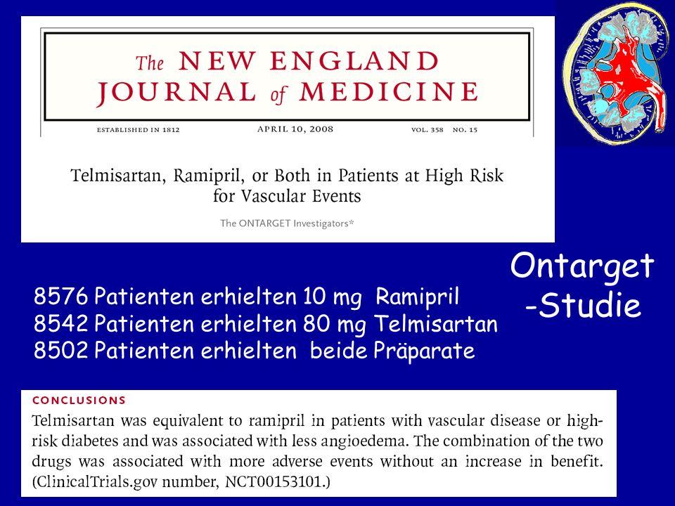Ontarget-Studie 8576 Patienten erhielten 10 mg Ramipril