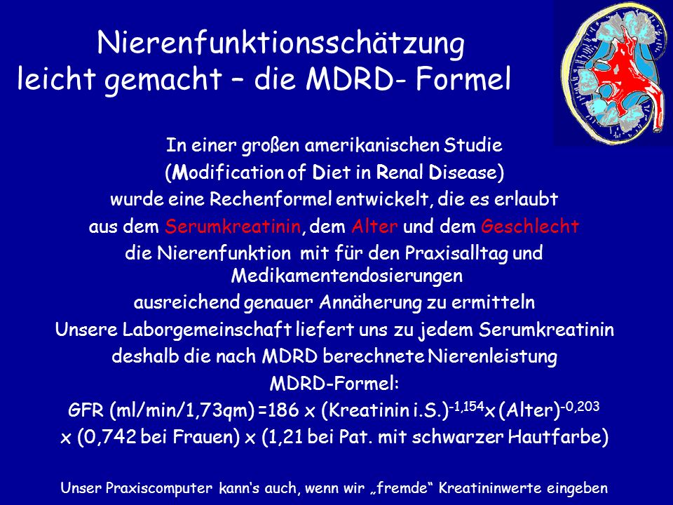 Nierenfunktionsschätzung leicht gemacht – die MDRD- Formel