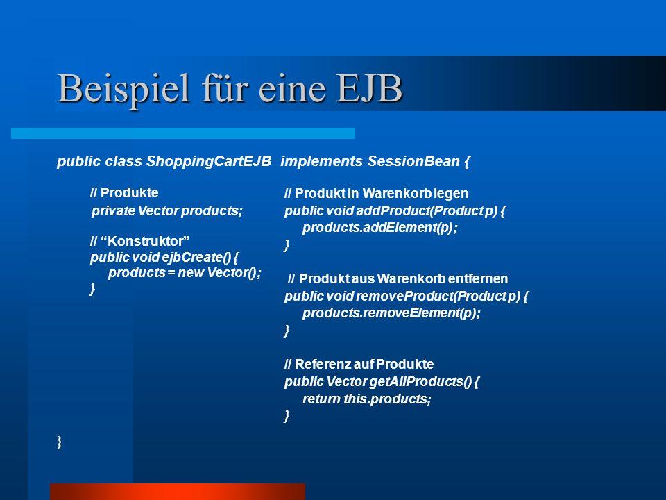 Beispiel für eine EJB // Produkte