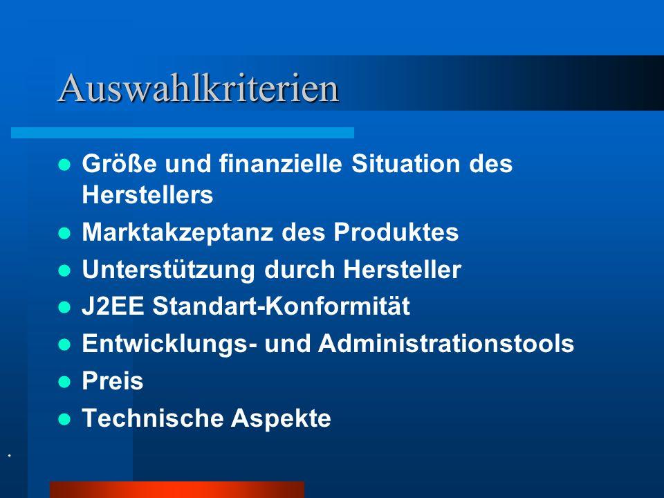 Auswahlkriterien Größe und finanzielle Situation des Herstellers