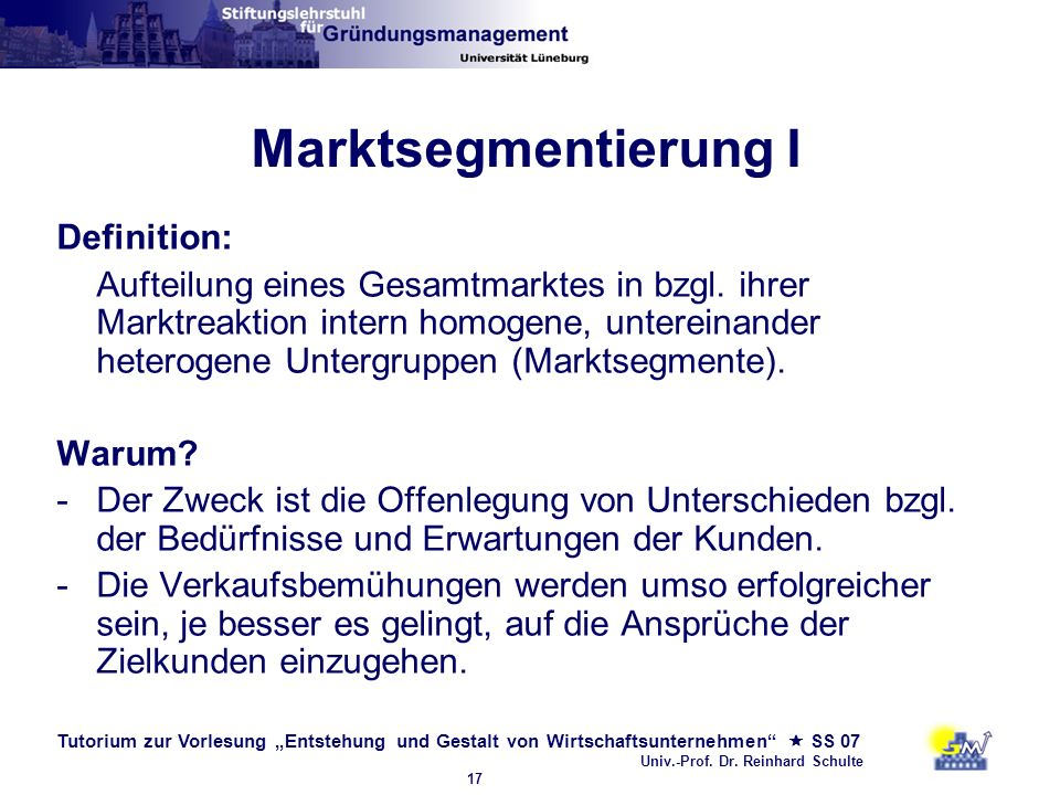 Marktsegmentierung I Definition: