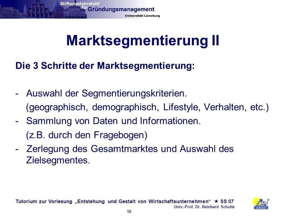 Marktsegmentierung II