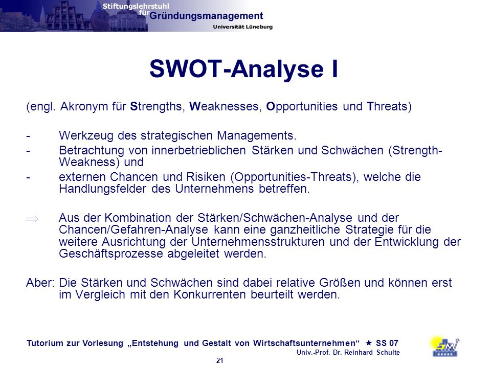 SWOT-Analyse I (engl. Akronym für Strengths, Weaknesses, Opportunities und Threats) Werkzeug des strategischen Managements.