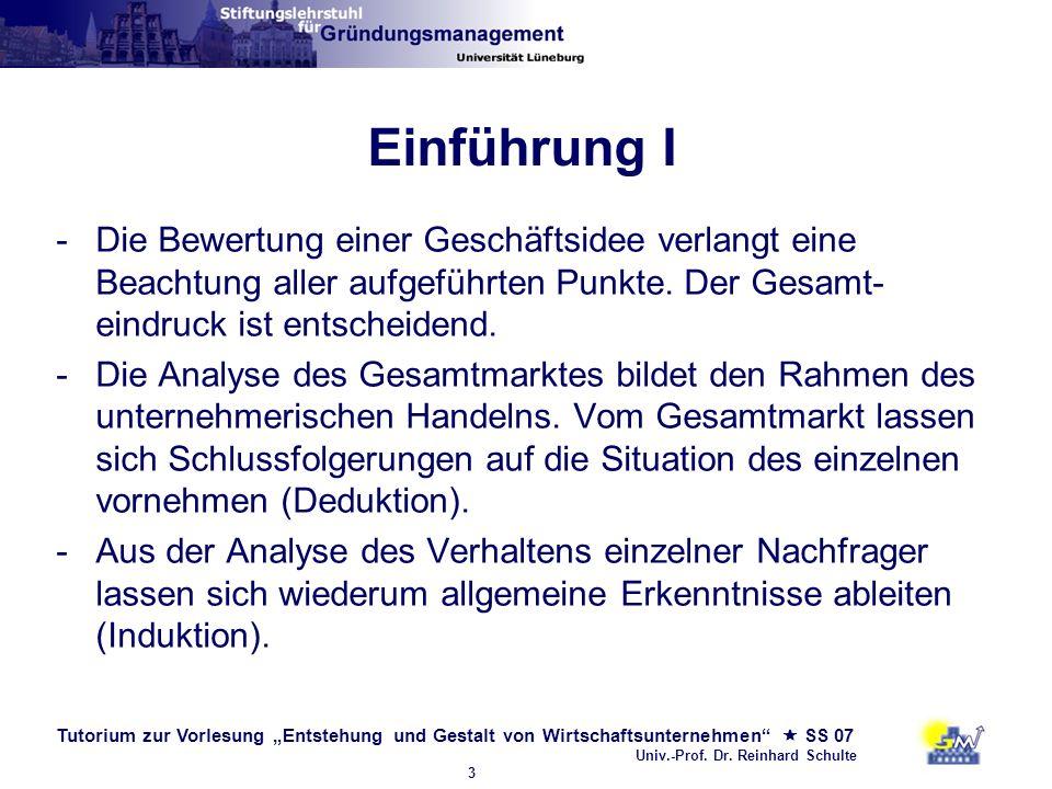 Einführung I Die Bewertung einer Geschäftsidee verlangt eine Beachtung aller aufgeführten Punkte. Der Gesamt-eindruck ist entscheidend.